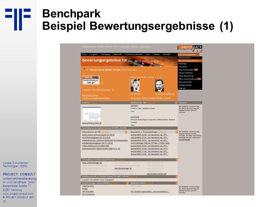 10 Update Dokumenten- Technologien (S204) PROJECT CONSULT Unternehmensberatung Dr.