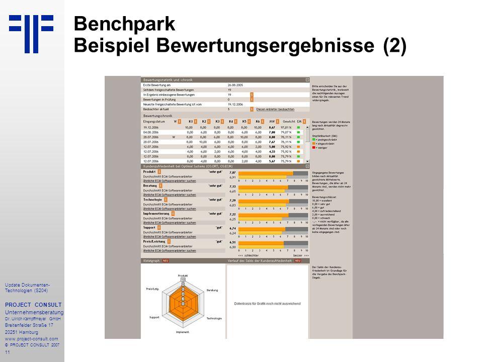 11 Update Dokumenten- Technologien (S204) PROJECT CONSULT Unternehmensberatung Dr. Ulrich Kampffmeyer GmbH Breitenfelder Straße 17 20251 Hamburg www.p