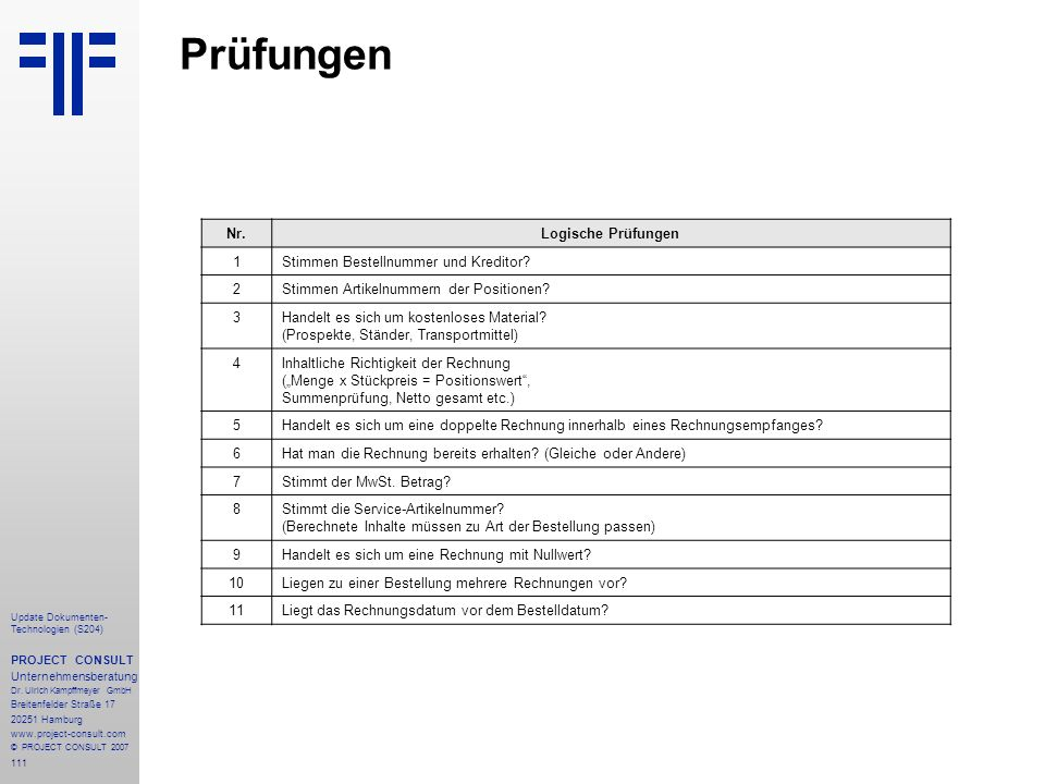 111 Update Dokumenten- Technologien (S204) PROJECT CONSULT Unternehmensberatung Dr.
