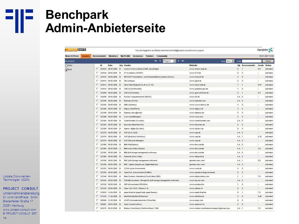 14 Update Dokumenten- Technologien (S204) PROJECT CONSULT Unternehmensberatung Dr. Ulrich Kampffmeyer GmbH Breitenfelder Straße 17 20251 Hamburg www.p
