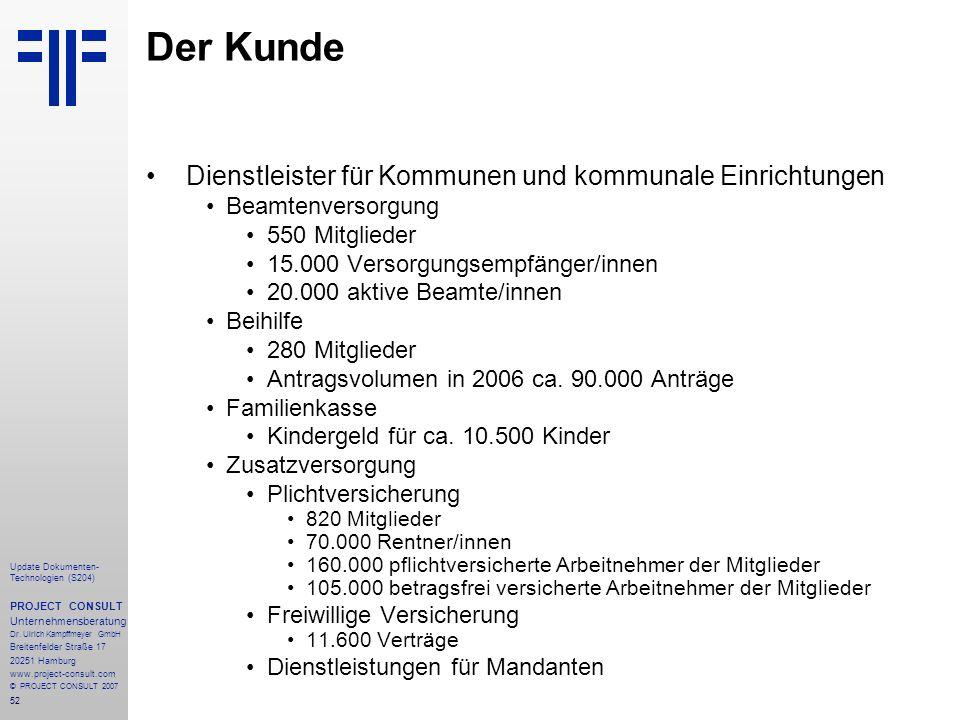 52 Update Dokumenten- Technologien (S204) PROJECT CONSULT Unternehmensberatung Dr. Ulrich Kampffmeyer GmbH Breitenfelder Straße 17 20251 Hamburg www.p