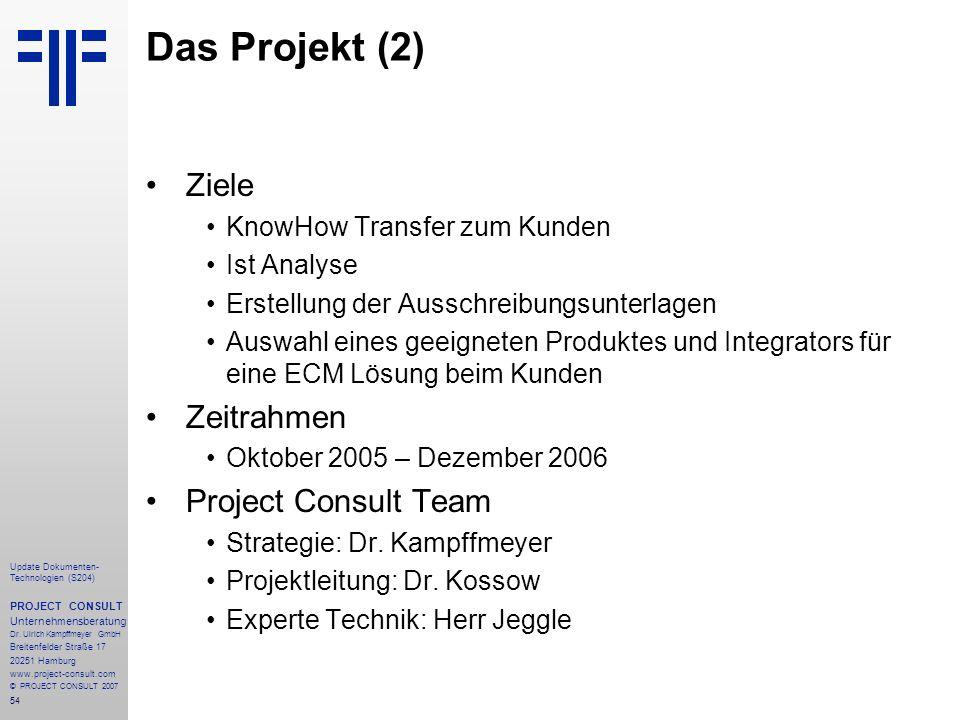 54 Update Dokumenten- Technologien (S204) PROJECT CONSULT Unternehmensberatung Dr. Ulrich Kampffmeyer GmbH Breitenfelder Straße 17 20251 Hamburg www.p