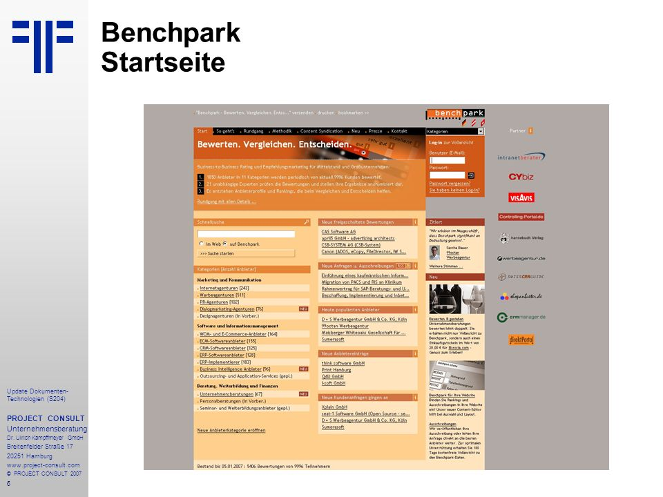 6 Update Dokumenten- Technologien (S204) PROJECT CONSULT Unternehmensberatung Dr.