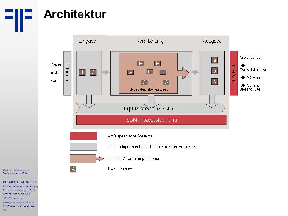 69 Update Dokumenten- Technologien (S204) PROJECT CONSULT Unternehmensberatung Dr. Ulrich Kampffmeyer GmbH Breitenfelder Straße 17 20251 Hamburg www.p
