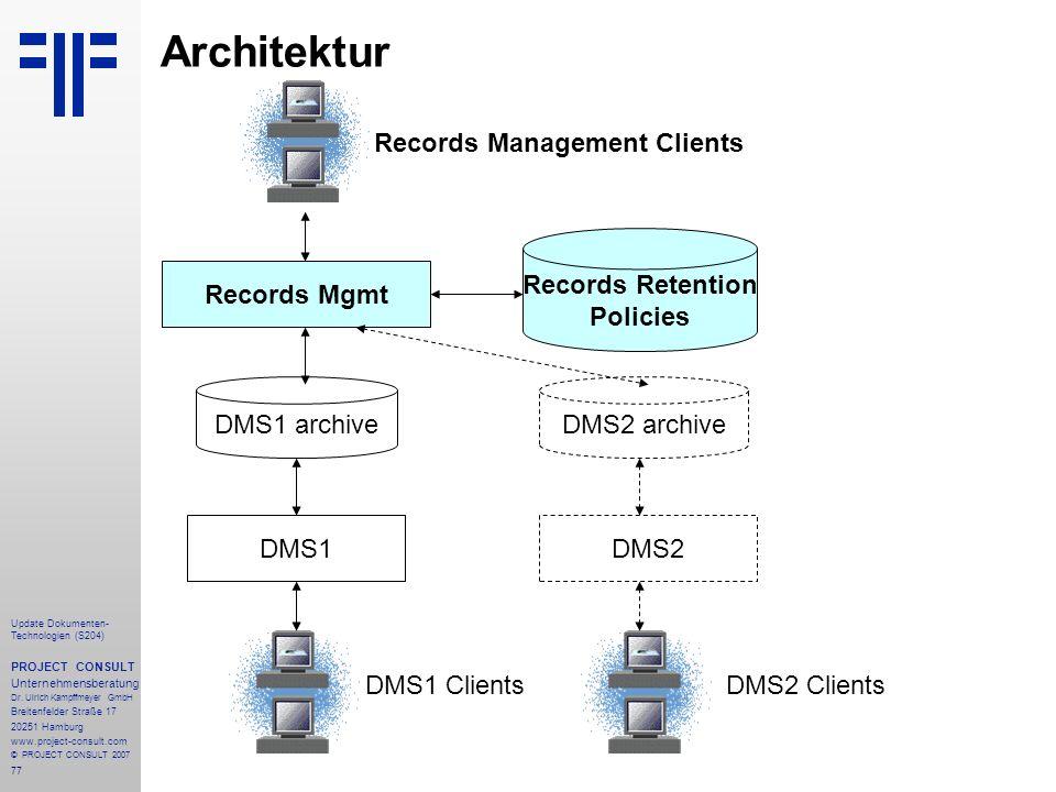 77 Update Dokumenten- Technologien (S204) PROJECT CONSULT Unternehmensberatung Dr. Ulrich Kampffmeyer GmbH Breitenfelder Straße 17 20251 Hamburg www.p