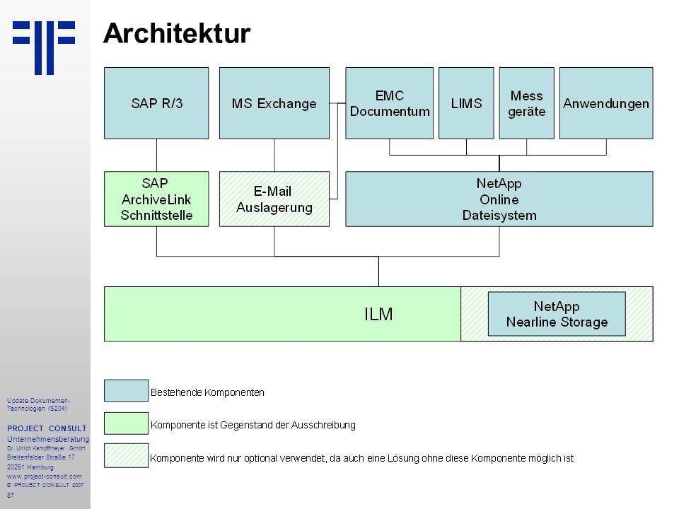 87 Update Dokumenten- Technologien (S204) PROJECT CONSULT Unternehmensberatung Dr. Ulrich Kampffmeyer GmbH Breitenfelder Straße 17 20251 Hamburg www.p