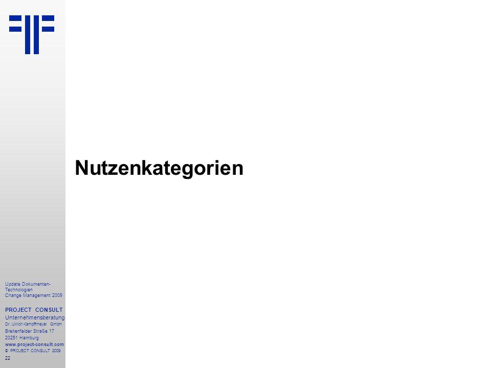 22 Update Dokumenten- Technologien Change Management 2009 PROJECT CONSULT Unternehmensberatung Dr. Ulrich Kampffmeyer GmbH Breitenfelder Straße 17 202