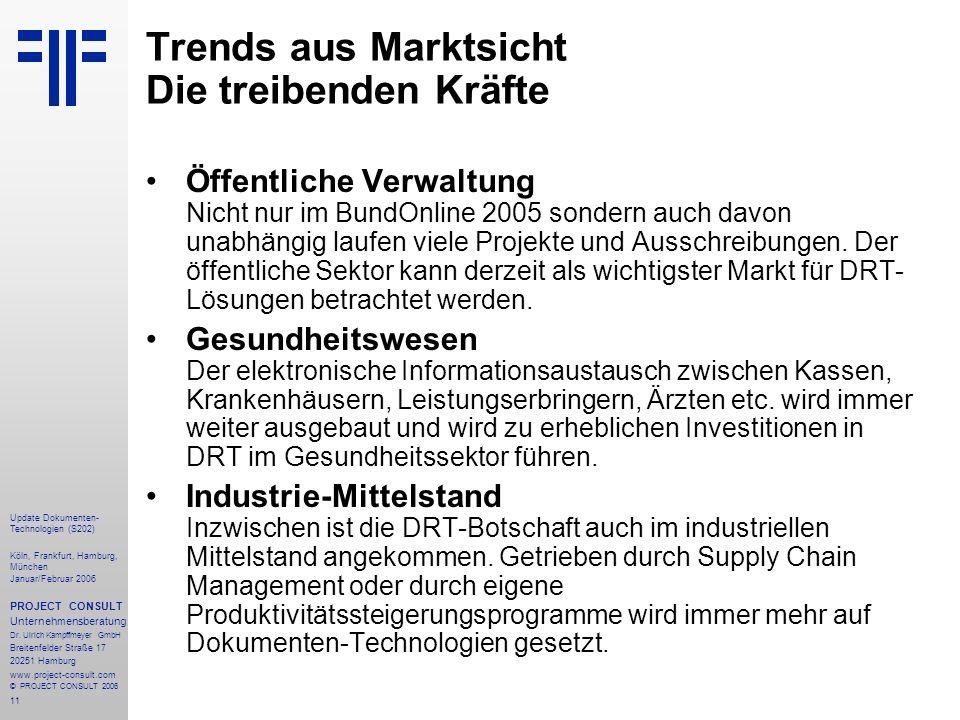 11 Update Dokumenten- Technologien (S202) Köln, Frankfurt, Hamburg, München Januar/Februar 2006 PROJECT CONSULT Unternehmensberatung Dr.
