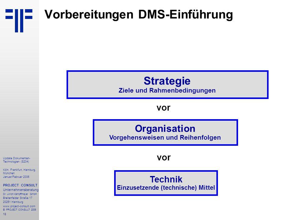 18 Update Dokumenten- Technologien (S204) Köln, Frankfurt, Hamburg, München Januar/Februar 2006 PROJECT CONSULT Unternehmensberatung Dr.