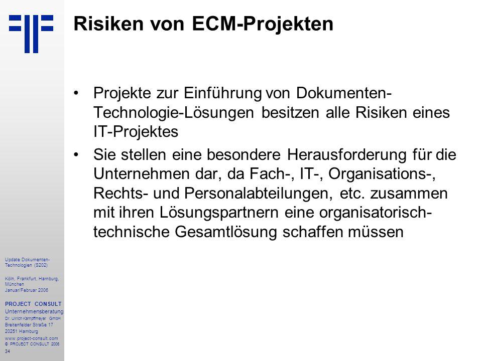 34 Update Dokumenten- Technologien (S202) Köln, Frankfurt, Hamburg, München Januar/Februar 2006 PROJECT CONSULT Unternehmensberatung Dr.
