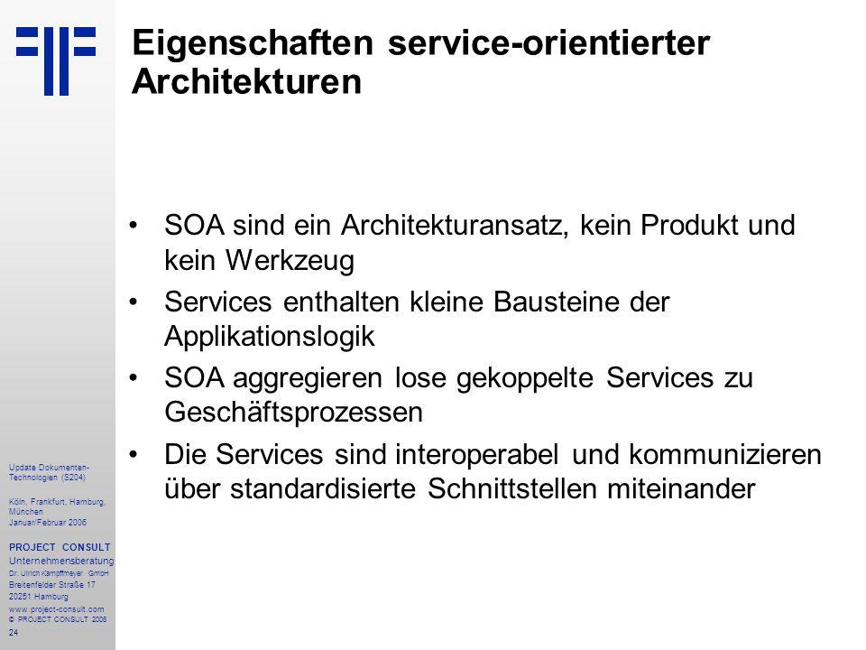 25 Update Dokumenten- Technologien (S204) Köln, Frankfurt, Hamburg, München Januar/Februar 2006 PROJECT CONSULT Unternehmensberatung Dr.