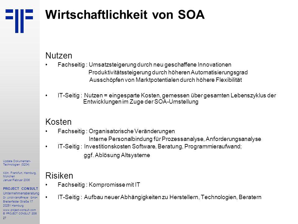 28 Update Dokumenten- Technologien (S204) Köln, Frankfurt, Hamburg, München Januar/Februar 2006 PROJECT CONSULT Unternehmensberatung Dr.