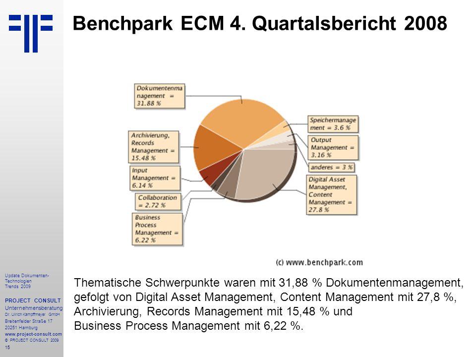 15 Update Dokumenten- Technologien Trends 2009 PROJECT CONSULT Unternehmensberatung Dr.