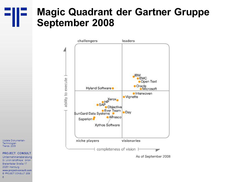 6 Update Dokumenten- Technologien Trends 2009 PROJECT CONSULT Unternehmensberatung Dr.