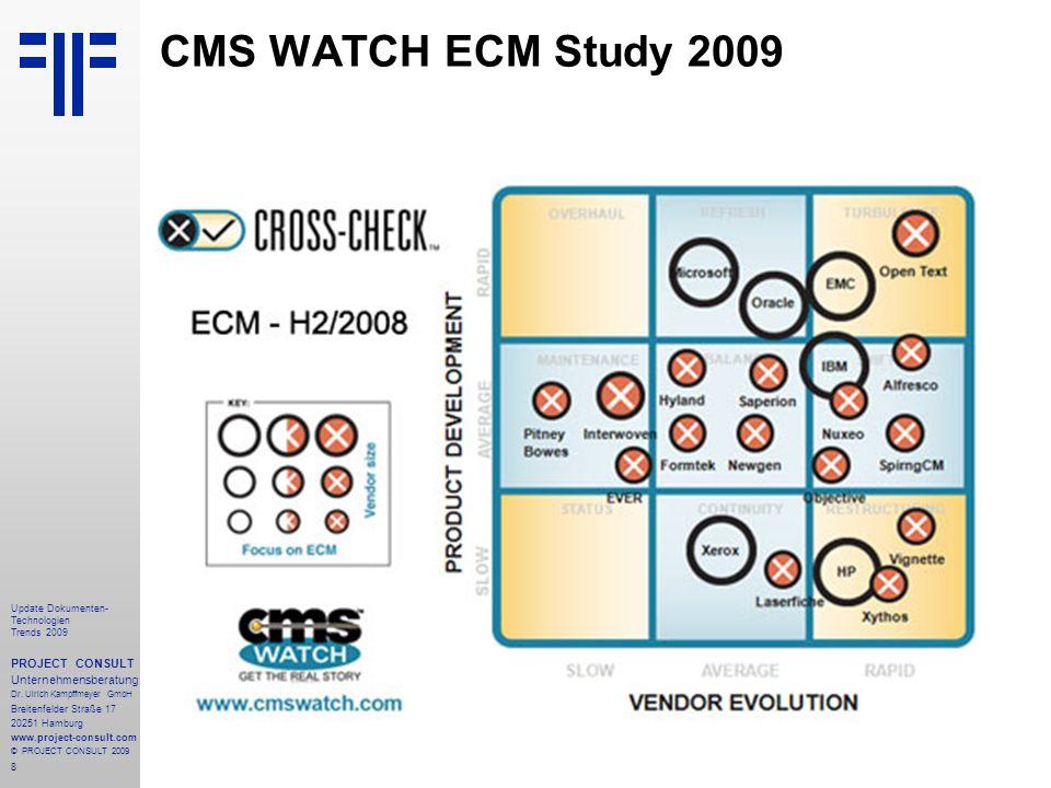 8 Update Dokumenten- Technologien Trends 2009 PROJECT CONSULT Unternehmensberatung Dr.