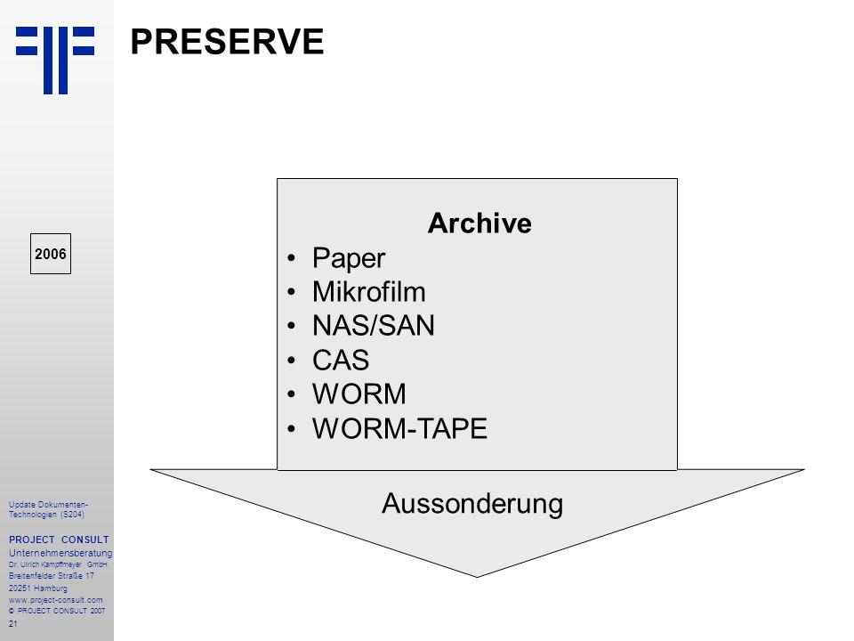 21 Update Dokumenten- Technologien (S204) PROJECT CONSULT Unternehmensberatung Dr. Ulrich Kampffmeyer GmbH Breitenfelder Straße 17 20251 Hamburg www.p