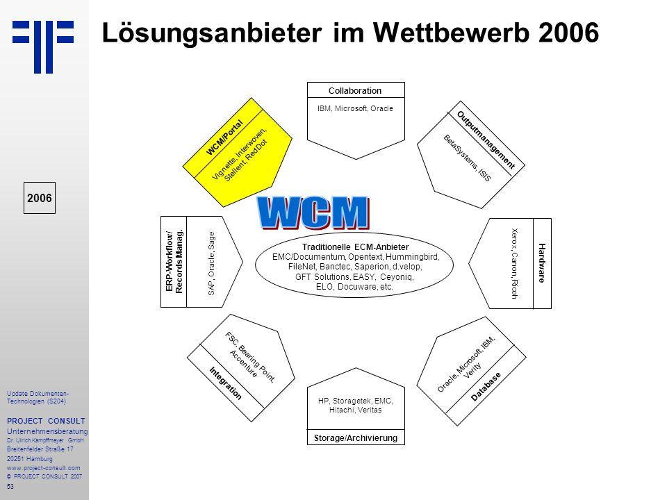 53 Update Dokumenten- Technologien (S204) PROJECT CONSULT Unternehmensberatung Dr. Ulrich Kampffmeyer GmbH Breitenfelder Straße 17 20251 Hamburg www.p