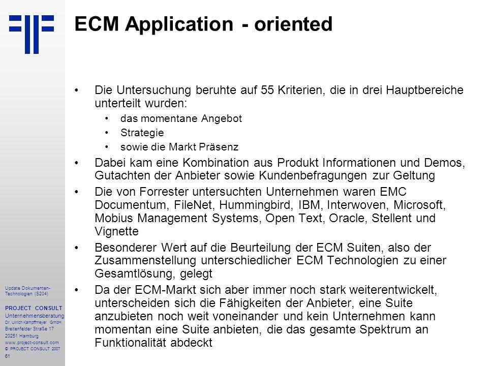 61 Update Dokumenten- Technologien (S204) PROJECT CONSULT Unternehmensberatung Dr. Ulrich Kampffmeyer GmbH Breitenfelder Straße 17 20251 Hamburg www.p