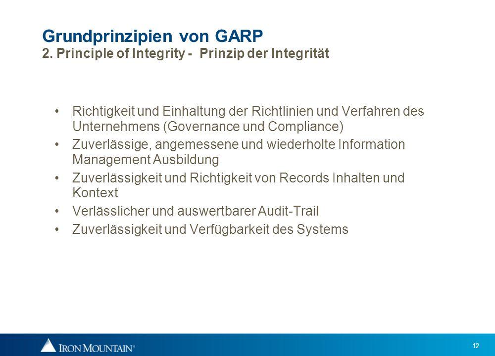 12 Grundprinzipien von GARP 2. Principle of Integrity - Prinzip der Integrität Richtigkeit und Einhaltung der Richtlinien und Verfahren des Unternehme