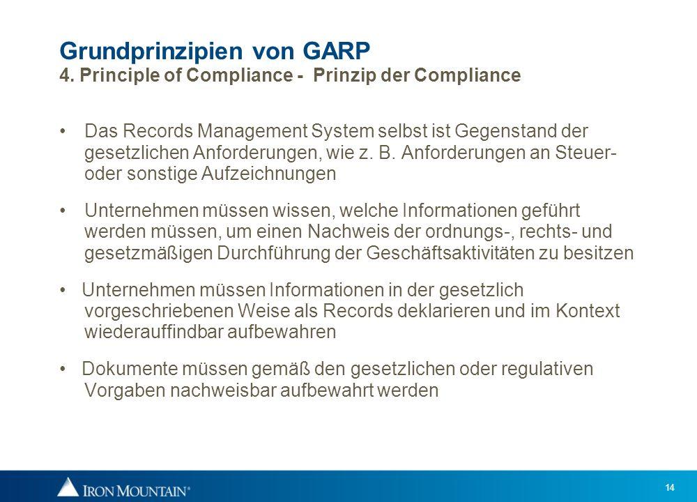 14 Grundprinzipien von GARP 4. Principle of Compliance - Prinzip der Compliance Das Records Management System selbst ist Gegenstand der gesetzlichen A
