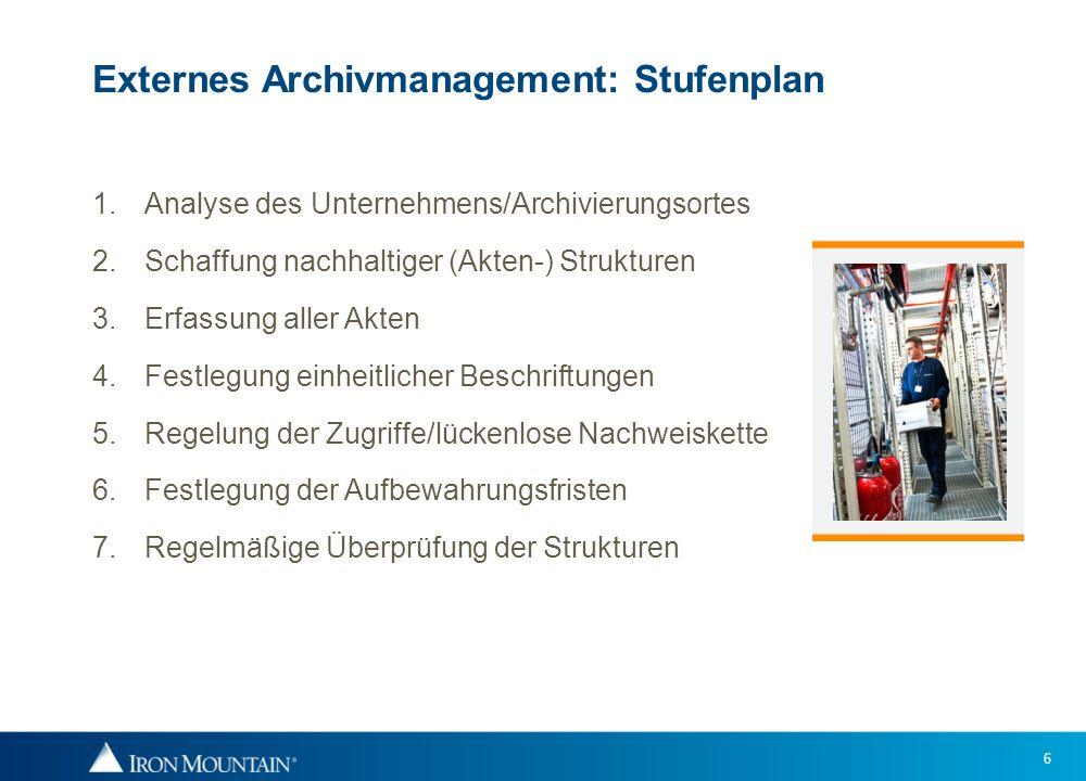 6 Externes Archivmanagement: Stufenplan 1.Analyse des Unternehmens/Archivierungsortes 2.Schaffung nachhaltiger (Akten-) Strukturen 3.Erfassung aller A