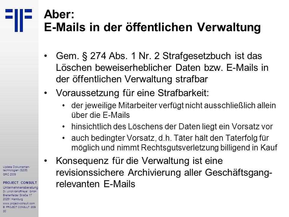 30 Update Dokumenten- technologien (S205) GRC 2009 PROJECT CONSULT Unternehmensberatung Dr. Ulrich Kampffmeyer GmbH Breitenfelder Straße 17 20251 Hamb