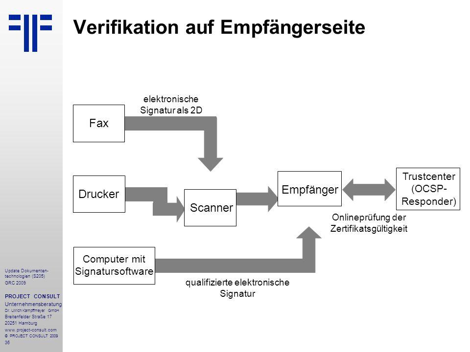36 Update Dokumenten- technologien (S205) GRC 2009 PROJECT CONSULT Unternehmensberatung Dr. Ulrich Kampffmeyer GmbH Breitenfelder Straße 17 20251 Hamb