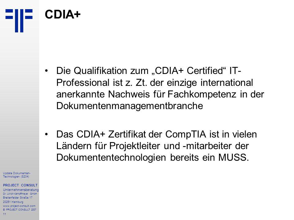 11 Update Dokumenten- Technologien (S204) PROJECT CONSULT Unternehmensberatung Dr.