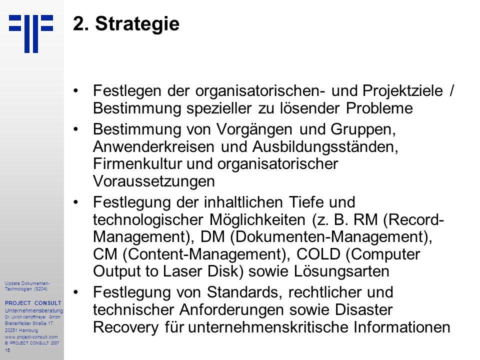 15 Update Dokumenten- Technologien (S204) PROJECT CONSULT Unternehmensberatung Dr.