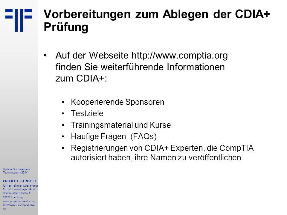 26 Update Dokumenten- Technologien (S204) PROJECT CONSULT Unternehmensberatung Dr.