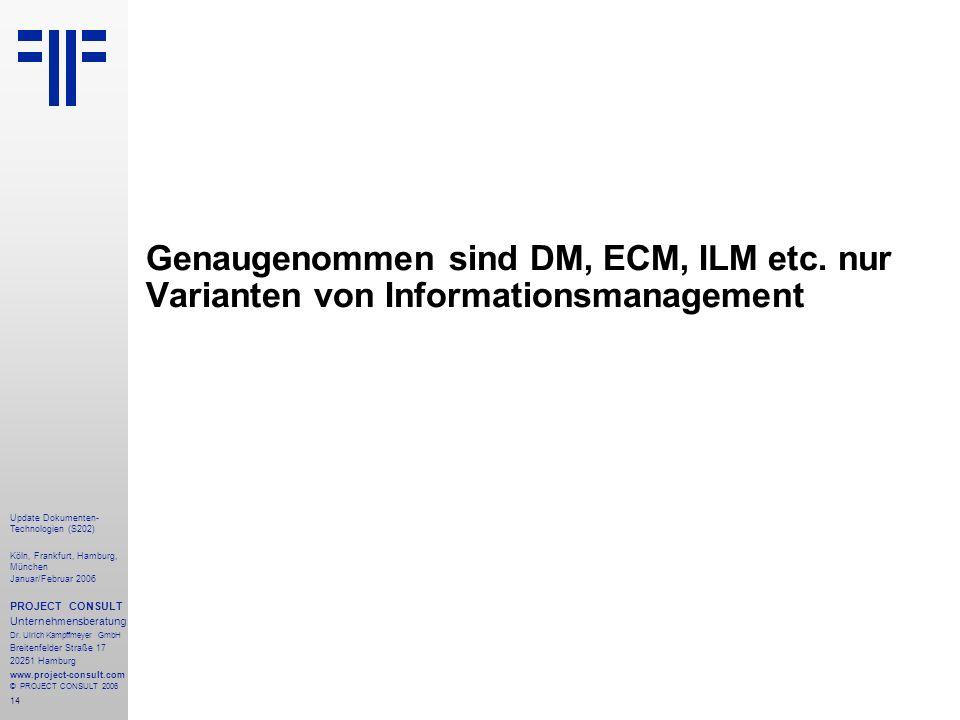 14 Update Dokumenten- Technologien (S202) Köln, Frankfurt, Hamburg, München Januar/Februar 2006 PROJECT CONSULT Unternehmensberatung Dr. Ulrich Kampff