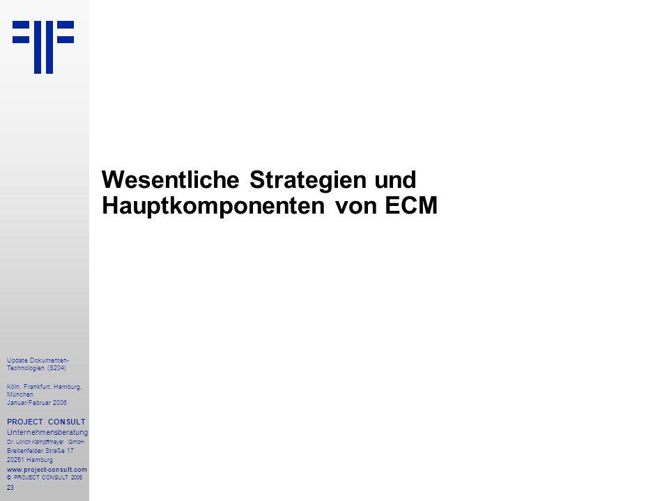 23 Update Dokumenten- Technologien (S204) Köln, Frankfurt, Hamburg, München Januar/Februar 2006 PROJECT CONSULT Unternehmensberatung Dr. Ulrich Kampff