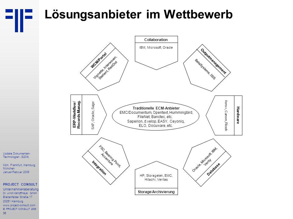36 Update Dokumenten- Technologien (S204) Köln, Frankfurt, Hamburg, München Januar/Februar 2006 PROJECT CONSULT Unternehmensberatung Dr. Ulrich Kampff