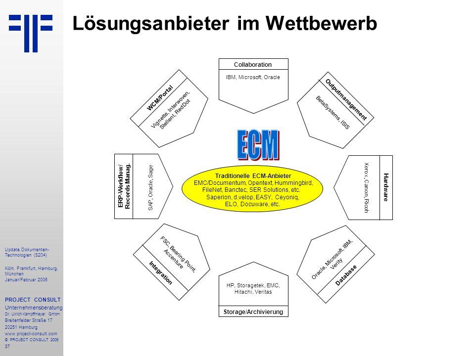 37 Update Dokumenten- Technologien (S204) Köln, Frankfurt, Hamburg, München Januar/Februar 2006 PROJECT CONSULT Unternehmensberatung Dr. Ulrich Kampff