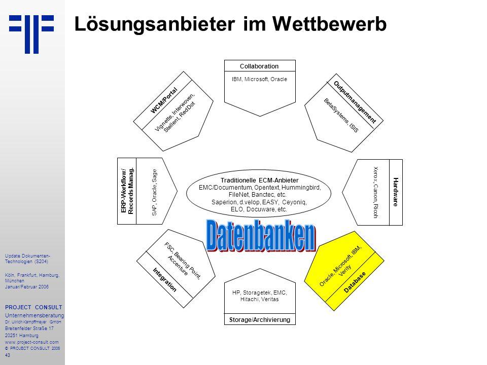 43 Update Dokumenten- Technologien (S204) Köln, Frankfurt, Hamburg, München Januar/Februar 2006 PROJECT CONSULT Unternehmensberatung Dr. Ulrich Kampff