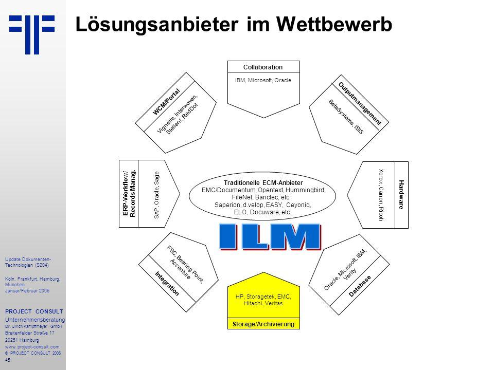 45 Update Dokumenten- Technologien (S204) Köln, Frankfurt, Hamburg, München Januar/Februar 2006 PROJECT CONSULT Unternehmensberatung Dr. Ulrich Kampff