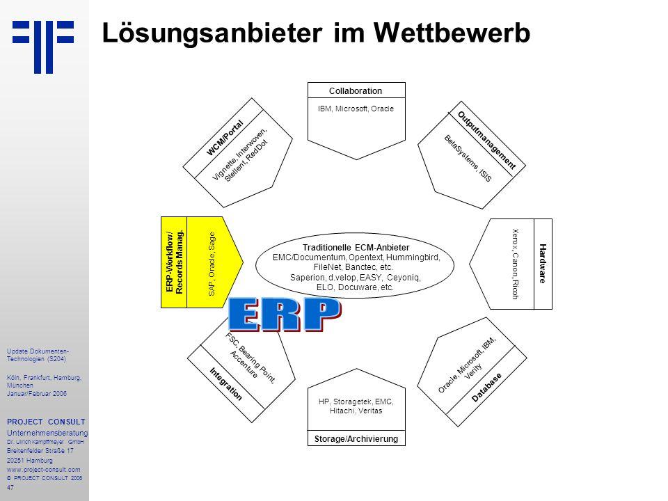 47 Update Dokumenten- Technologien (S204) Köln, Frankfurt, Hamburg, München Januar/Februar 2006 PROJECT CONSULT Unternehmensberatung Dr. Ulrich Kampff