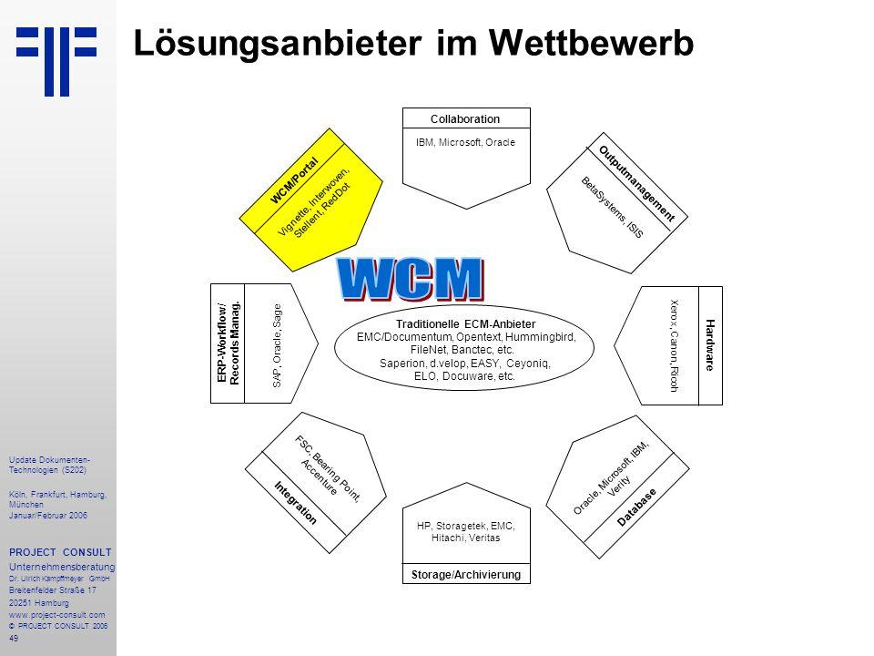 49 Update Dokumenten- Technologien (S202) Köln, Frankfurt, Hamburg, München Januar/Februar 2006 PROJECT CONSULT Unternehmensberatung Dr. Ulrich Kampff
