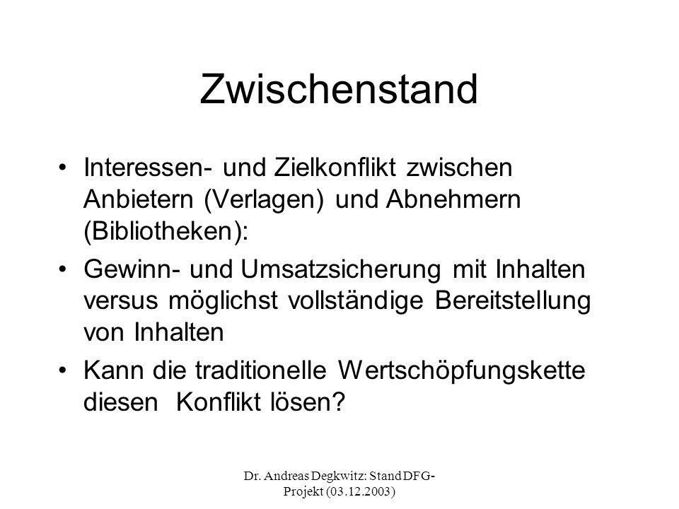 Dr. Andreas Degkwitz: Stand DFG- Projekt (03.12.2003) Zwischenstand Interessen- und Zielkonflikt zwischen Anbietern (Verlagen) und Abnehmern (Biblioth