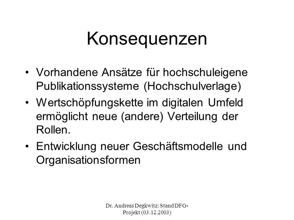 Dr. Andreas Degkwitz: Stand DFG- Projekt (03.12.2003) Konsequenzen Vorhandene Ansätze für hochschuleigene Publikationssysteme (Hochschulverlage) Werts