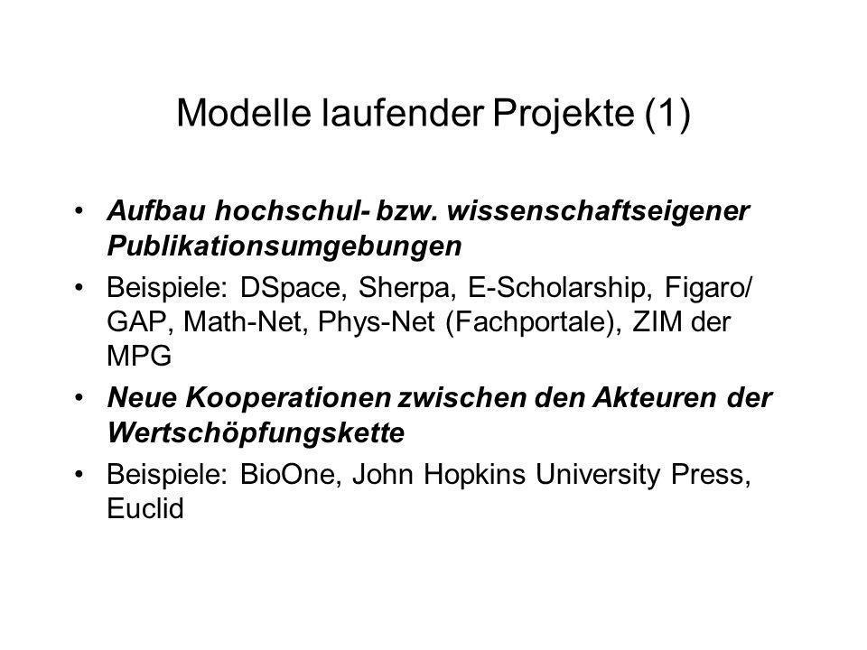 Modelle laufender Projekte (1) Aufbau hochschul- bzw. wissenschaftseigener Publikationsumgebungen Beispiele: DSpace, Sherpa, E-Scholarship, Figaro/ GA