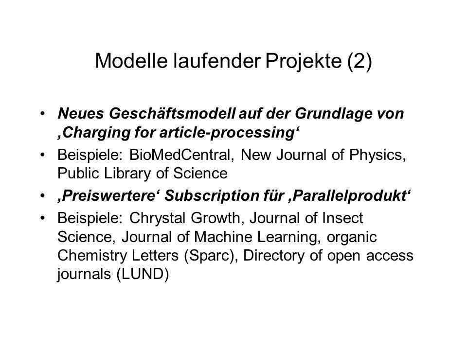 Modelle laufender Projekte (2) Neues Geschäftsmodell auf der Grundlage von Charging for article-processing Beispiele: BioMedCentral, New Journal of Physics, Public Library of Science Preiswertere Subscription für Parallelprodukt Beispiele: Chrystal Growth, Journal of Insect Science, Journal of Machine Learning, organic Chemistry Letters (Sparc), Directory of open access journals (LUND)