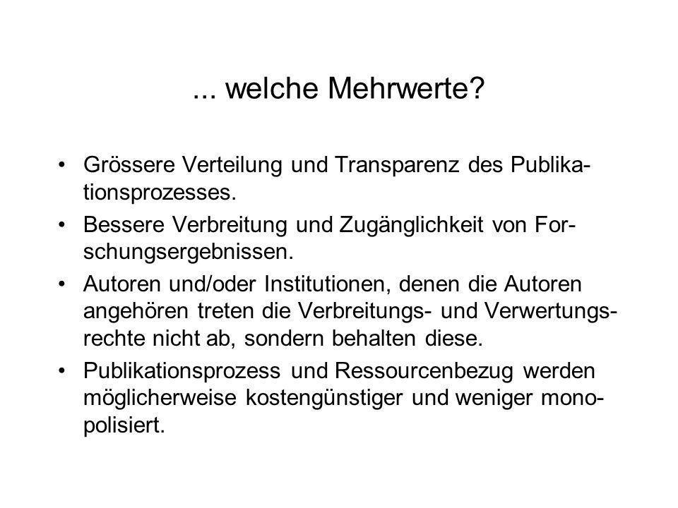 ... welche Mehrwerte? Grössere Verteilung und Transparenz des Publika- tionsprozesses. Bessere Verbreitung und Zugänglichkeit von For- schungsergebnis