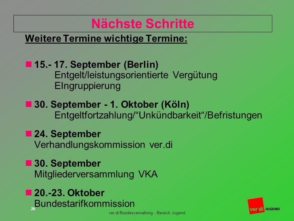 ver.di Bundesverwaltung - Bereich Jugend 26 Nächste Schritte Weitere Termine wichtige Termine: 15.- 17. September (Berlin) Entgelt/leistungsorientiert