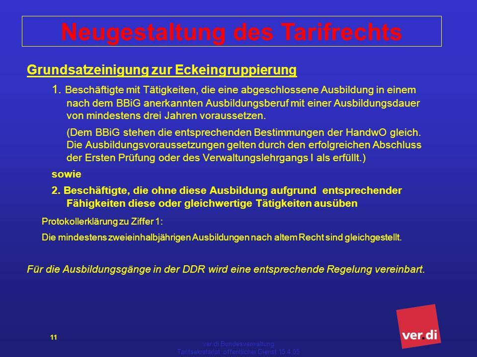 ver.di Bundesverwaltung Tarifsekretariat öffentlicher Dienst 15.4.05 11 Grundsatzeinigung zur Eckeingruppierung 1.
