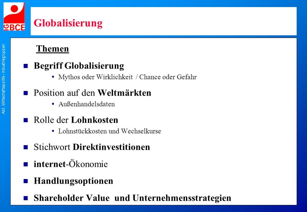 Globalisierung Themen n Begriff Globalisierung Mythos oder Wirklichkeit / Chance oder Gefahr n Position auf den Weltmärkten Außenhandelsdaten n Rolle