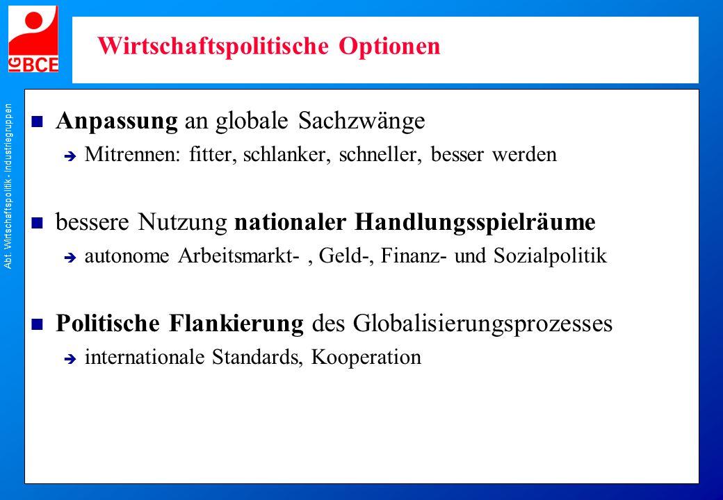 Abt. Wirtschaftspolitik - Industriegruppen Wirtschaftspolitische Optionen n Anpassung an globale Sachzwänge Mitrennen: fitter, schlanker, schneller, b