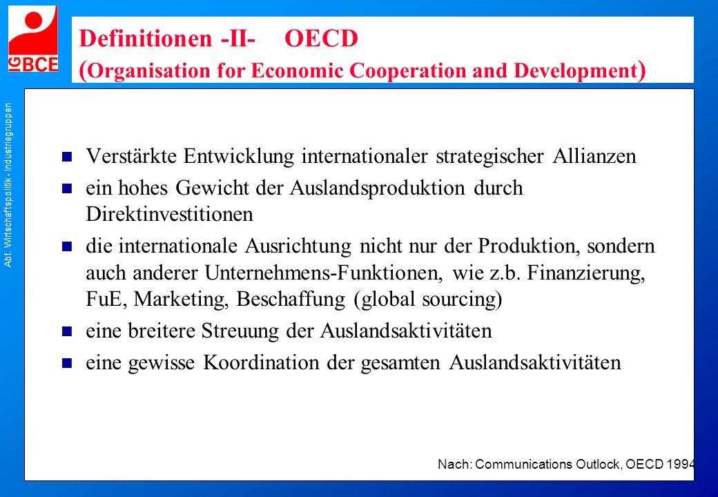 Abt. Wirtschaftspolitik - Industriegruppen Nach: Communications Outlock, OECD 1994 Definitionen -II- OECD ( Organisation for Economic Cooperation and