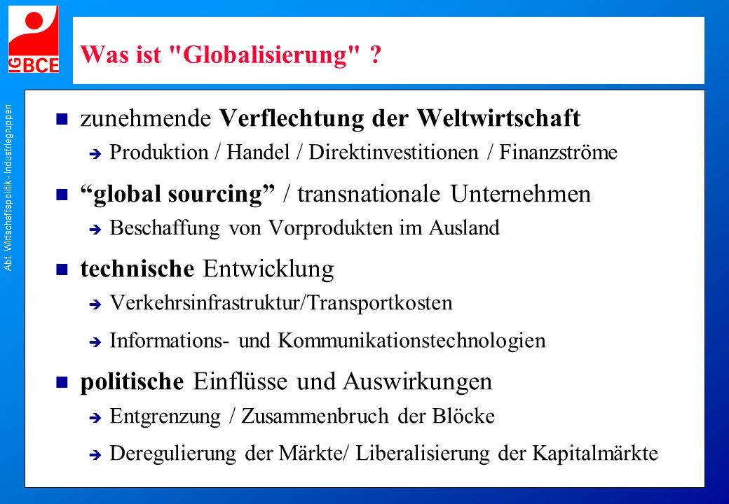 Abt. Wirtschaftspolitik - Industriegruppen Was ist