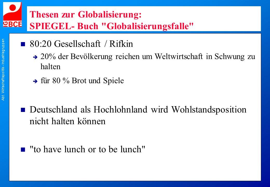 Abt. Wirtschaftspolitik - Industriegruppen Thesen zur Globalisierung: SPIEGEL- Buch